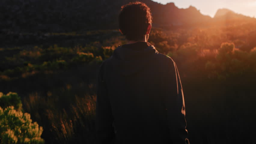 Young man trekking in peaceful countryside at sunset exploring nature contemplating journey on summer vacation enjoying freedom | Shutterstock HD Video #1021486597