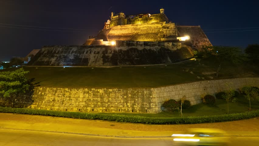 Night Time-lapse of Castillo San Felipe de Barajas, a fortress in the city of Cartagena, Colombia. The castle was placed in a strategic location, defending approaches to the city by land or sea.