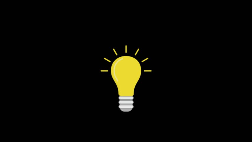 Bulb Eco icon animation with black background. Icon design. Video Animation. 4K.
