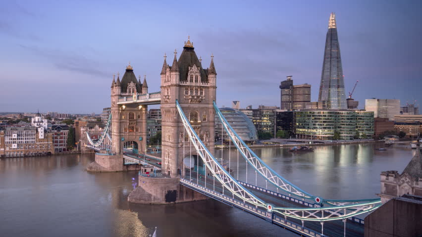 Time lapse London skyline with illuminated Tower bridge in sunrise time, UK | Shutterstock HD Video #1021517707