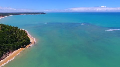 Aerial view of Satú beach in Caraíva, Porto Seguro, Bahia, Brazil. Great beach scene. Fantastic landscape. Vacation travel. Travel destination. Vacation concept.