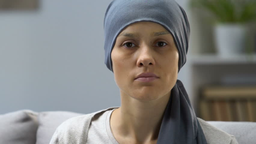 Portrait of pale woman sick with cancer, request for help, social protection | Shutterstock HD Video #1021625167