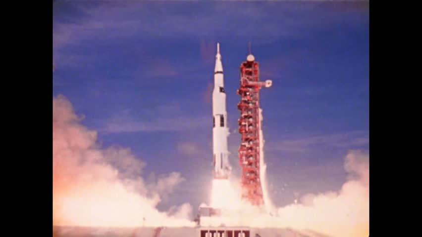 CIRCA 1970s - The Apollo 15 spacecraft is shown lifting off from Kennedy Space Center at Merritt Island in Florida and in flight over the Moon. | Shutterstock HD Video #1021667527