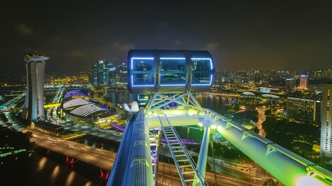 MARINA BAY, SINGAPORE - NOVEMBER 2016: Time lapse of Marina Bay Singapore city skyline aerial view with motion. Prores 1080p. Zoom in motion timelapse.