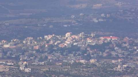 View of a Lebanese village from the upper Galilee and the border of Israel with Lebanon.
