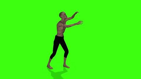 Zombie walking animation. Halloween concept. Green screen animation.