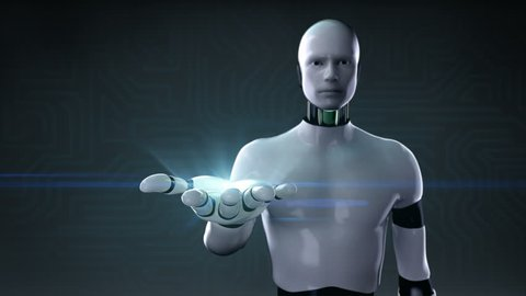 Robot, cyborg opens the palm, Artificial intelligence Industrial Automation, AI, 4k animation.