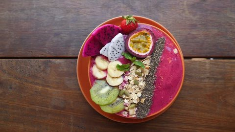 Healthy Breakfast. Vegan Smoothie Bowl With Fresh Fruits And Superfoods