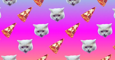 Motion seamless pattern design. Cat and Pizza. Pizza mood concept