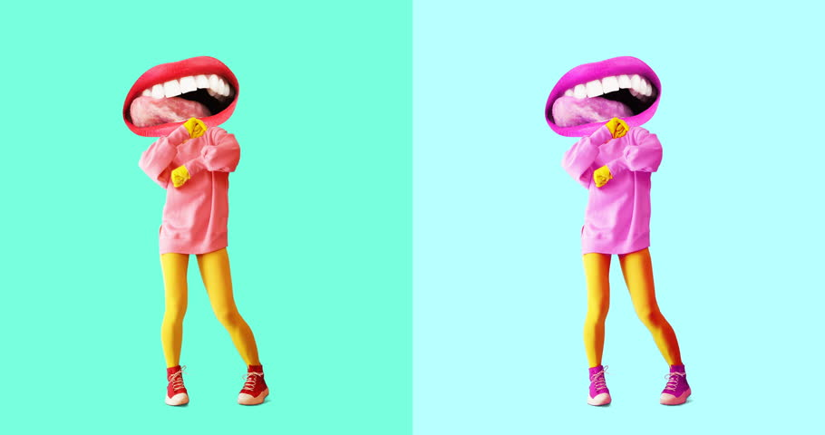 Minimal motion design art. Gif set. Dancing funny licking Lips. | Shutterstock HD Video #1021997497