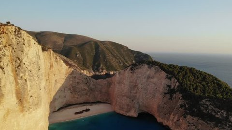Shipwreck Beach also known as Navagio Beach or Shipwreck Cove, located in Zante, Zakynthos island in Greece. Drone footage is from DJI Mavic Air shot during the day and golden hour and sunset.