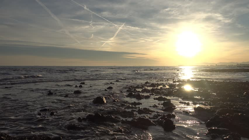 Sunset on the coast of the renega of Oropesa del Mar | Shutterstock HD Video #1022014717
