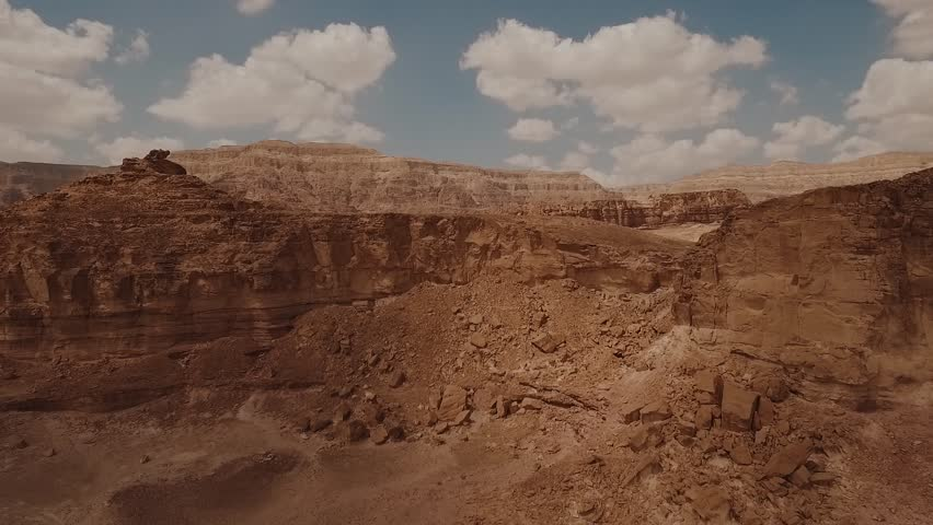 Timna Park in Israel next to Eilat. Shot with a drone. Desert looking landscape.  | Shutterstock HD Video #1022031637