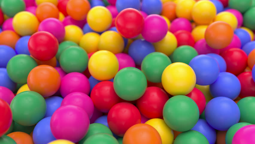 4k 3D animation of a pile of abstract colorful spheres and balls, rolling and falling.