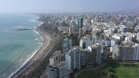 Aerial view of Miraflores district in Lima, Peru