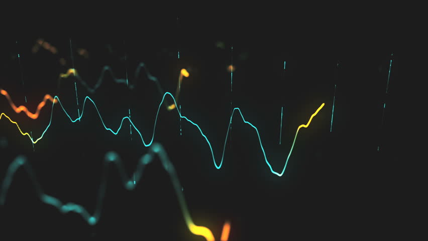 Animation growth of abstract charts with changing values of check points on dark background. Animation of seamless loop.   Shutterstock HD Video #1022110327