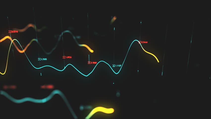Animation growth of abstract charts with changing values of check points on dark background. Animation of seamless loop.   Shutterstock HD Video #1022110357