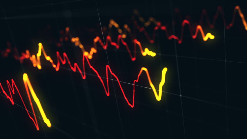 Animation growth of abstract charts with changing values of check points on dark background. Animation of seamless loop.   Shutterstock HD Video #1022110867