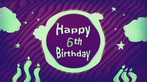 Happy 6th Birthday 4K retro bluish Motion party banner showing sparkling light green text inside moon of old dark plum-purple striped fantasy dream sky backdrop with greenish stars, clouds & candles