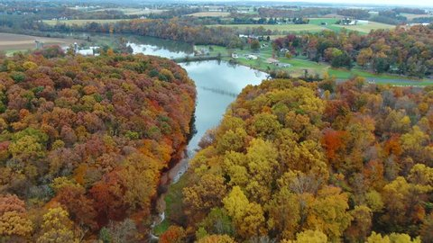 Aerial, Autumn colors surrounding Elizabeth township and Speedwell lake, Pennsylvania. USA