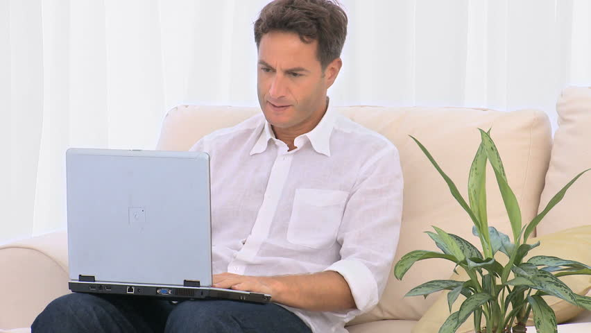 Annoyed man on his computer