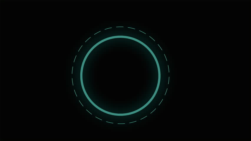 Glowing button graphic animation. Instrument hologram animation isolated on black background. Technology symbol Illustration visual effect. HUD animation