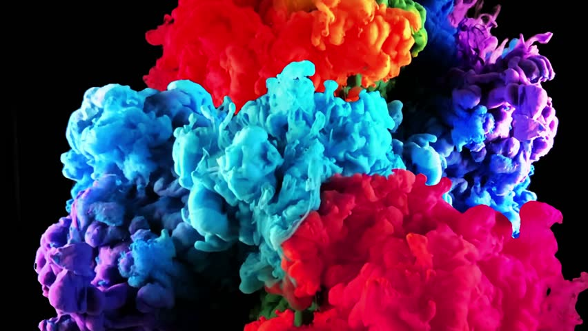 Color paint drops in water in slow motion. Abstarct colorful rainbow ink paint drops in the water. Slow motion of Liquid ink isolated on black background. Colored ink cloud mixing with alpha mask.  | Shutterstock HD Video #1022279527