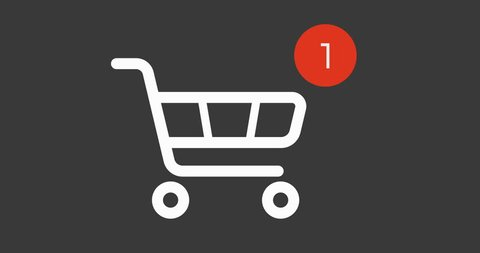 animation shopping cart icon with counter added online commodity on gray background. 4k footage with alpha matte