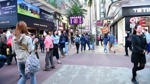 HONG KONG - NOV 29, 2018 : Shoppers and crowd at shopping street in Hong Kong, China. 4K timelapse