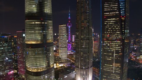 SHANGHAI, CHINA - CIRCA October 2018  Aerial view of Lujiazui(The bund) in Shanghai.nightscape