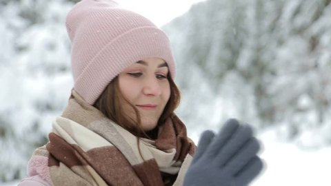 dbf4e68612d Pretty Woman in Winter Hat Stock Footage Video (100% Royalty-free ...