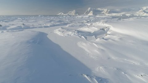 Antarctica Aerial Majestic Landscape Drone View. Snow Covered Arctic Extreme Nature Mountain Beauty. Frozen South Pole Winter Land Helicopter Above Footage 4K (UHD)