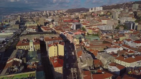 View from the drone on the tiled roofs of the old town Rijeka in Croatia.