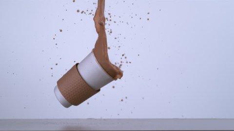 Slow motion shot of coffee spilling, shot with Phantom Flex 4K camera.