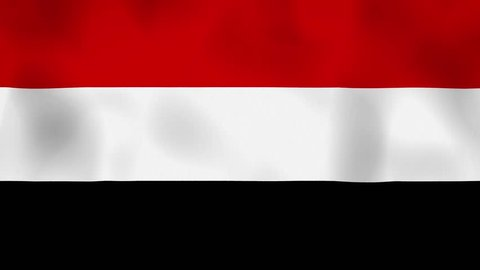 Yemen flag on the wind, animated in 4k. Great background for motion design and animations or text. Flag calmly waving on the wind.