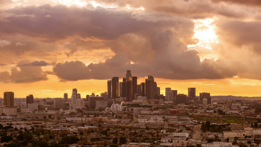 Cloudy day to night transition time lapse downtown Los Angeles    Shutterstock HD Video #1022645527