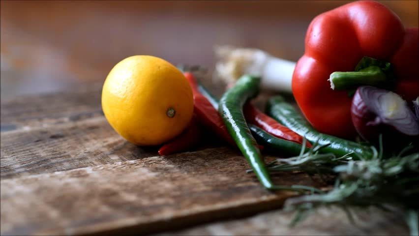 Fresh vegetables on the table | Shutterstock HD Video #1022702527