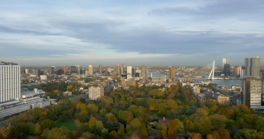 panorama view rotterdam skyline stock footage video (100