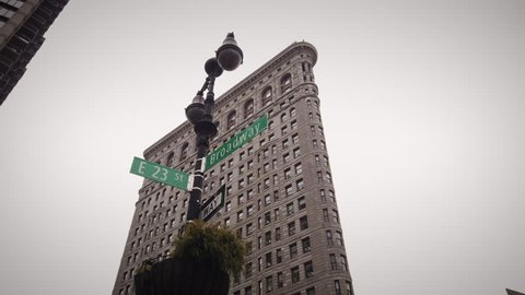 New York, New York / United States - January 19,2019: The Flatiron Building is a triangular 22-story, landmarked building located at 175 5th Avenue in Midtown Manhattan,
