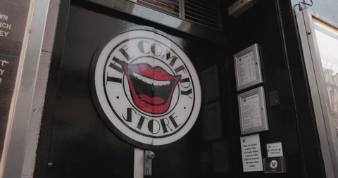 LONDON ENGLAND - JANUARY 2019: The comedy store outside sign comedian club night entertainment act
