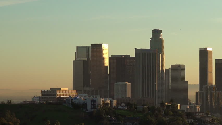 Downtown Los Angeles Skyline with helicopters and planes circling the buildings   Shutterstock HD Video #1022769817