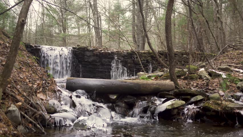 Static shot of a Small waterfall in winter that is half frozen in the middle of a Forrest