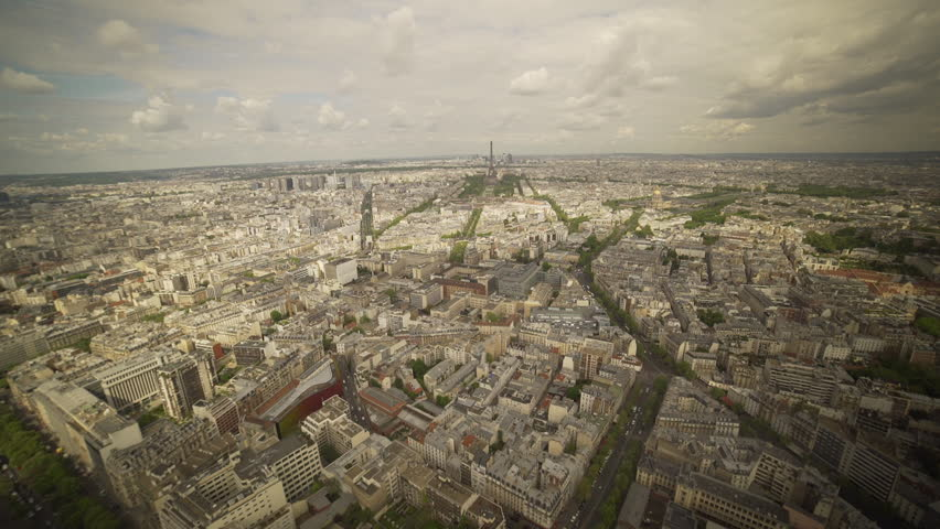 Very lview of the city of Paris with the Eiffel tower and the other districts in France. | Shutterstock HD Video #1022819677