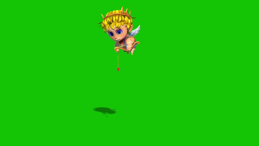 Cupid Happy Valentine's day Arrow Green Screen 3D Rendering Animation | Shutterstock HD Video #1022820367