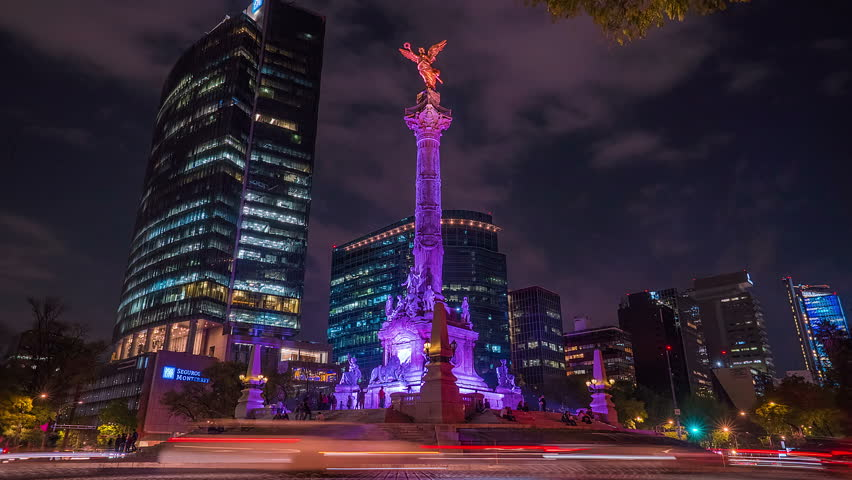 MEXICO CITY, MEX. JANUARY 2019. Hyperlapse of the Independence Angel monument in Reforma avenue in downtown. This monument is one of the most beautiful and representative by mexicans.