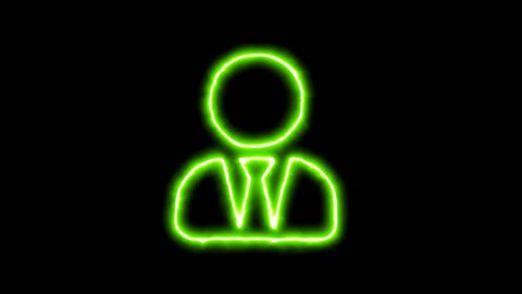 The appearance of the green neon symbol user tie. Flicker, In - Out. Alpha channel Premultiplied - Matted with color black