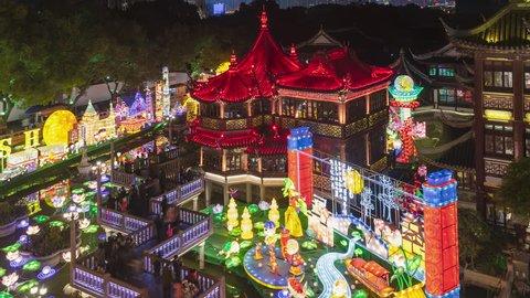 Lantern Festival during the chinese new year in Bridge of Nine Turnings.YuYuan Garden.Shanghai.China
