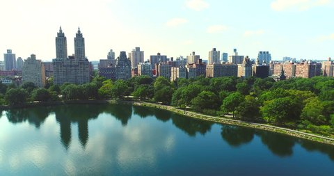 Upper west side Manhattan skyline with Central park in New York city Aerial