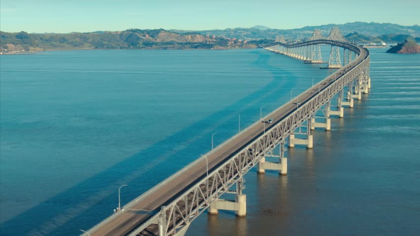Aerial: Richmond Bridge heading into Oakland, California, USA.  | Shutterstock HD Video #1022961937