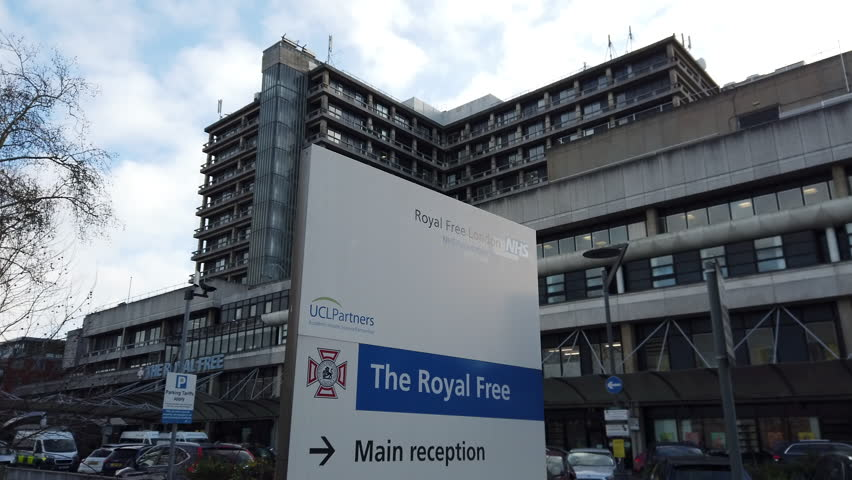 HAMPSTEAD, LONDON - JANUARY 18, 2019: Exterior of The Royal Free Hospital in Hampstead, North London, UK.